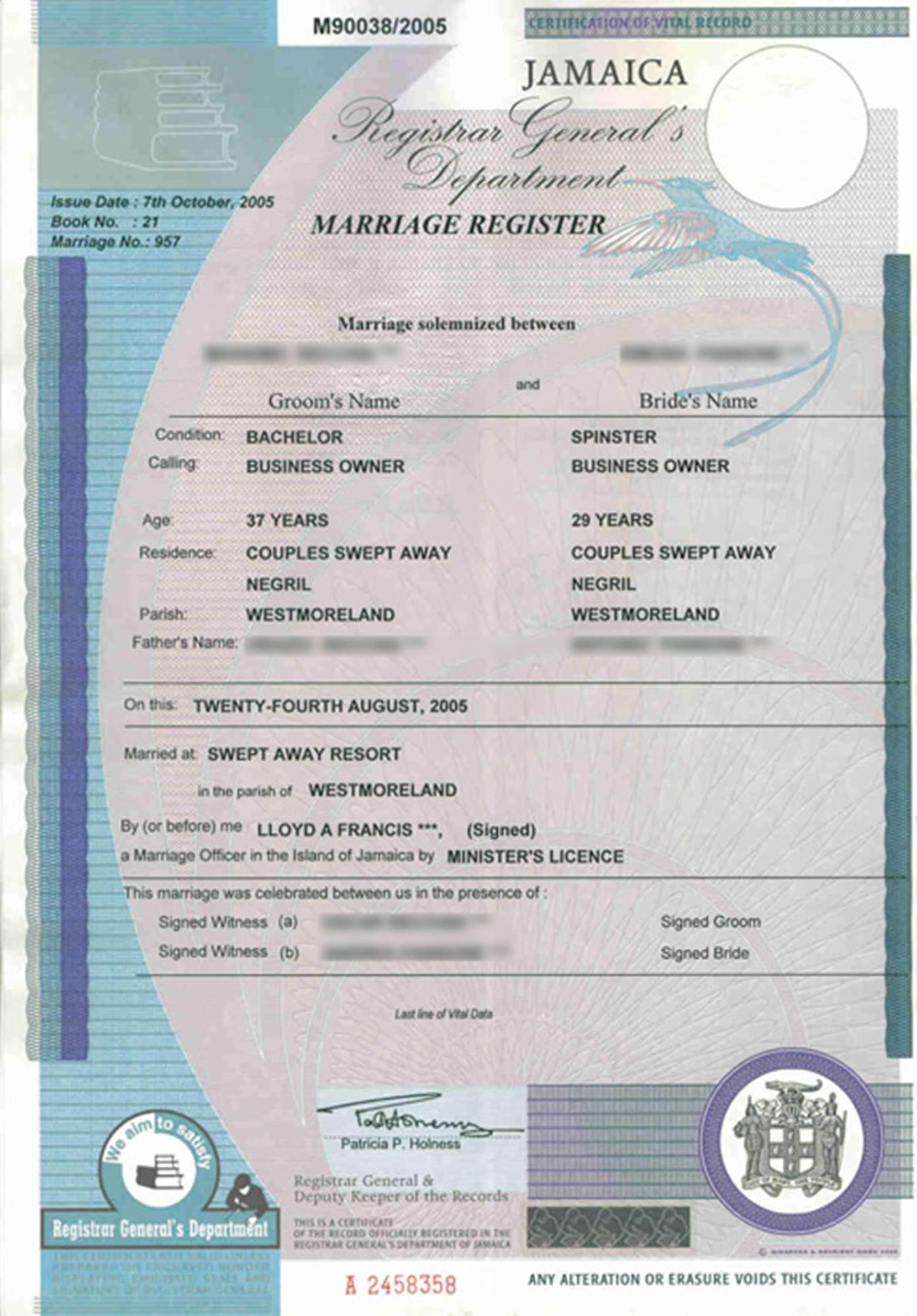 Certificato Matrimonio Simbolico : Certificati di matrimonio